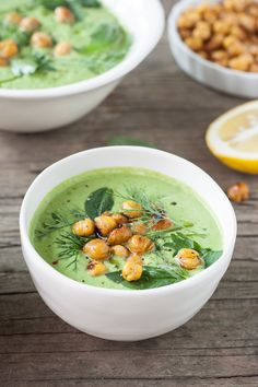 Chilled Cucumber-Tahini & Herb Soup with Cumin-Spiced Roasted Chickpeas -- A simple and refreshing chilled summer soup bursting with farm fresh flavors. Vegan Soups, Vegetarian Recipes, Healthy Recipes, Summer Soup Recipes, Herb Soup, Real Food Recipes, Cooking Recipes, Chilled Soup, Gourmet