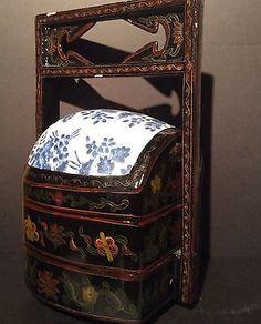 Antique-19th-C-Japanese-Jubako-Bento-Storage-Stacking-Box-Black-Lacquer