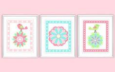 Nursery Wall Art - Digital - Polka Dots - Flowers - Birds - Pink - Teal - Green - Baby Nursery  - Kids Room - Nursery Art - Bailey