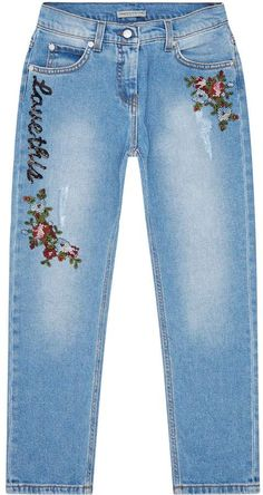 Girls Jeans, Mom Jeans, Skinny Jeans, Ermanno Scervino, Embroidered Jeans, Diy Embroidery, Harrods, Pouch, Denim