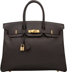 """Hermes 35cm Havane Courchevel Leather Birkin Bag with GoldHardware. D Square, 2000. Very Good Condition. 14""""Widt..."""