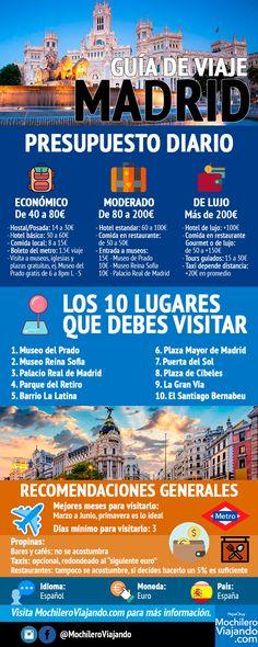 Guia de viaje a Madrid en infografía #madrid #españa #infografía #viaje #europa #guia #guide #viajes #mochilero #presupuestos #guiadeViaje #traveltips #travel #travelblog #travelblogger #europe #spain #cibeles #alcala