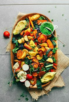 AMAZING Roasted Vegetable Salad & Chimichurri! 30 minutes, healthy, SO delicious #vegan #plantbased #glutenfree #salad #recipe #minimalistbaker