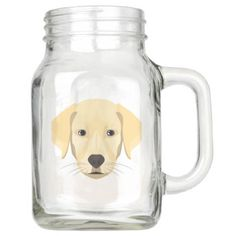 Illustration Puppy Golden Retriver Mason Jar - mason jars gifts ideas presents