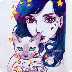 Instagram media qinniart - Star Cat~⭐ -  A sketch of @his.storm and her cat. I took a bit of liberty and added stuff, hope you like it anyways~! My #sketchmeQ20k is still open. I'll be picking photos or characters that click with me ~ I read a lot of awesome messages, though i cant reply to everyone, thank you guys so much! Sorry if I don't draw you or your character; I wish I had the time to do everyone's!