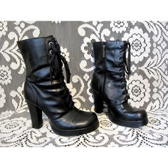 90's Black Platform Goth Heels Lace Up Boots Vegan Witch Boots 4 Inch... ($59) ❤ liked on Polyvore featuring shoes, boots, black high heel boots, goth boots, lace-up platform boots, black boots and black platform shoes