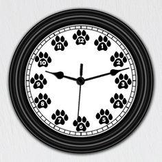 Dog Paw Print - Unique Wall Clock - Handmade Gift