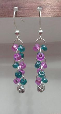 $8.99 FREE SHIPPING Teal/Violet Glass Beaded Dangle Earrings with Flower Bead by MysteryDealMichelle by reyna