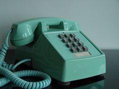 Classic 1960s Blue Cortelco ITT 2500 Touch Tone Telephone Henry Dreyfuss Mad Men Era Robins Egg Blue Desktop Office Supply. $75.00, via Etsy.