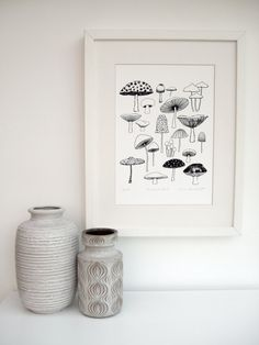 Mushrooms is a print taken directly from one of the pages of my book, Twenty Ways To Draw A Tree. This print is a limited edition of 100. Other