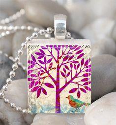 Tree Scrabble Tile Pendant Bird Necklace by EasterShells on Etsy. $6.00, via Etsy.