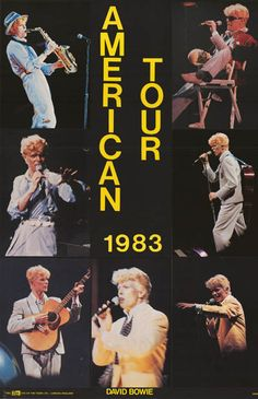 David Bowie Live Pics American Tour Original 1983 Music Poster 23x34