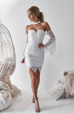 The Ultimate White Lace Dress perfect for your special occasion! Shop now  from Nouveau Riche 8324df608