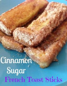 Cinnamon Sugar French Toast Sticks. Easy to make and the kids love them! Plus you can easily freeze these cinnamon sugar french toast sticks if you make a big batch of them!