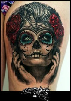 Amazing Sugar Skull Tattoo - Best Tattoos Ever - Tattoo by Led Coult - 01