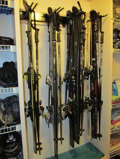 Garage Ski Rack For 8 Pairs Of Skis #skistorage #skiwallrack #storeyourboard