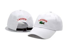 Men's / Women's Lacoste Classic Croc Logo Embroidery Leather Strap Back Curved Adjustable Dad Hat - White Lacoste Store, Lacoste Clothing, White P, Dad Hats, Baseball Cap, Crocs, New Fashion, Tee Shirts, Dads