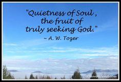 """Quietness of Soul, the fruit of truly seeking God."" ~ A. W. Tozer's Classic ""The Pursuit of God"" #Tozer #SeekingGod via @JeanWilund.com"