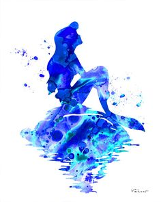 Blue Mermaid print Mermaid watercolor print by FluidDiamondArt
