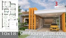 House Plans with 3 bedrooms Full PlansThe House has:-Car Parking and garden-Living room,-Dining Bedrooms, 2 bathrooms Country House Plans, Small House Plans, House Floor Plans, One Bedroom Flat, Flat Roof House, Plans Architecture, Modern Bungalow House, Model House Plan, Simple House Design