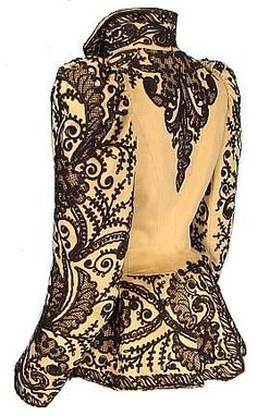 c. 1891 Wool Soutache Jacket! Black soutache over beige or light tan wool jacket.