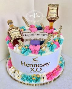 Related posts: owl birthday cake Hunters next birthday cake Pink Rose Chocolate Layer Cake Birthday cake # 19th Birthday Cakes, Adult Birthday Cakes, 25th Birthday, 21st Birthday Themes, Birthday Ideas, Hennesy Cake, Liquor Cake, Alcohol Cake, Quinceanera