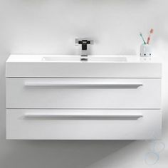 luce white designer wall hung vanity unit - Designer Walls