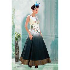 Party Wear Cream Bhagalpuri Gown - 71161