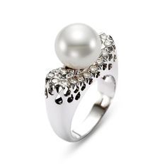 Diamond and Pearl Ring available at Houston Jewelry!