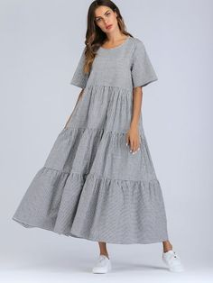Modest and Cute A Line Gingham Shift Flounce Round Neck Half Sleeve Regular Sleeve Black and White Maxi Length Tiered Gingham Maxi Dress Dress Outfits, Casual Dresses, Fashion Dresses, Shift Dresses, Dresses Dresses, Dress Clothes, Dance Dresses, Plaid Dress, Dress Up