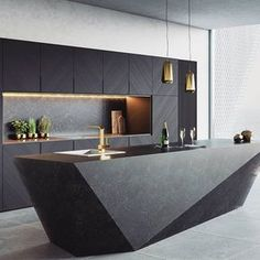 Interior design ideas for a luxury kitchen decor. On this kitchen, you can see extraordinary furniture design pieces. Take a look at the board and let you inspiring! See more clicking on the image. Modern Kitchen Interiors, Luxury Kitchen Design, Kitchen Room Design, Luxury Kitchens, Home Decor Kitchen, Interior Design Kitchen, Modern Interior Design, Kitchen Ideas, Gold Kitchen
