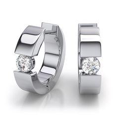 Huggie Diamond Earrings in 14k White Gold (.50ctw)