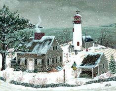 """Lighthouse at James Point"" - Sharon Ascherl Primitive Painting, Primitive Folk Art, Vintage Christmas Images, Christmas Art, Lighthouse Painting, Inspirational Artwork, Country Art, Winter Art, Winter Landscape"