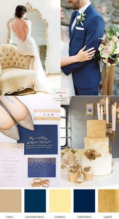 Opulent Blue and Gold Wedding Theme We wanted to create a romantic yet still modern palette for opulent brides.Opulent Blue and Gold Wedding Theme with tan, vanilla with a powerful rich blues Navy Blue Wedding Cakes, Blue Gold Wedding, Gold Wedding Theme, Wedding Themes, Dream Wedding, Wedding Blog, Wedding Ideas, Gold Wedding Dresses, Navy Yellow Weddings