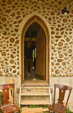 beautiful doorway of cordwood house