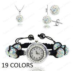 Watch Crystal Shamballa Set Crystal Pendant Bracelet Earring Jewelry Set JW1J007 #Unbranded