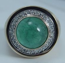 Vintage Jewelry 14K Yellow Gold 4.31ct Emerald cabochon Diamonds Men Ring