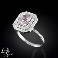 Cotton Candy Pink Sapphire and Diamond Double Halo Ring - Rectangle Cushion Cut - LS2577 on Etsy, $3,829.50
