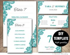 Teal Wedding Seating Chart Template  Wedding Place by paperfull