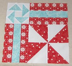 fun Pinwheel block, especially like the flying geese in the corner