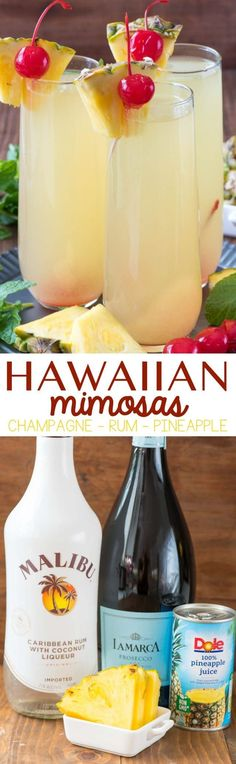 Hawaiian Mimosas - this easy cocktail recipe has just three ingredients and will make you think you're on a beach in paradise. Pineapple, Rum, and Champagne is all it takes to make this delicious cocktail!