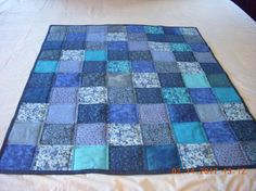 SALE ONLY $15!!!! Handmade Baby Toddler Quilt Blues Cotton by LoveToSewBags