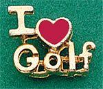"Ladies Golf ""I Love Golf"" Tac Pins - Gold Plate/Enamel"