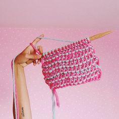 Morgane Mathieu x We are knitters - Stan Scarf  #stanscarf #weareknitters #wak #wakxmorganem2 #knit #stitch #sample #knitting #knitwear #knittingaddict #knittersofinstagram #instaknit #pink #blue #bubblegum #wool #woolporn #arm #tattoo #handmade #diy #useyourhands