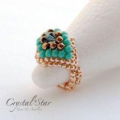 Felicity Beaded Ring Tutorial by Crystalstargems on Etsy