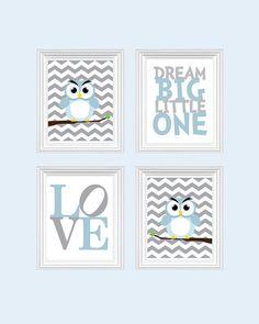 Baby Boy Nursery Art Chevron Owl Nursery, Baby Nursery Decor, Playroom Rules Quote Art, Kids Wall Art Baby Girls Room, Dream On