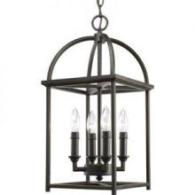 Piedmont Collection Antique Bronze 4-Light Foyer Pendant -P3884-20  $150 online, $74 nearby  Progress Lighting-Model Number: P3884-20Simple and vertical in form, Piedmont features an open arching roof and center truss inspired by classic Shaker design. Designed to be used singly in a foyer or in series over a dining table, kitchen island or as a wall bracket when installed on the P8762 accessory arm (sold separately). Four-light foyer lantern with soaring arches and candle chaser accents…