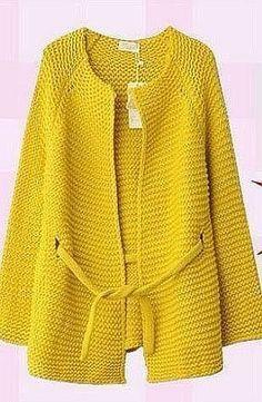 Яркий жакет простой платочной вязкой (Вязание спицами) — Журнал Вдохновение Рукодельницы