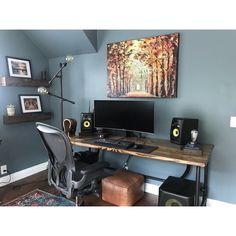 This modern computer desk is compact in size and is ideal for smaller spaces such as a bedroom, dorm, apartment or home office. Game Room Decor, Room Setup, Pc Setup, Home Office Setup, Home Office Design, Small Game Rooms, Computer Desk Setup, Modern Home Offices, Game Room Furniture