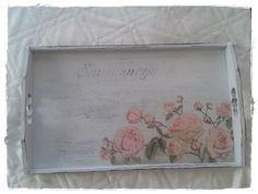 Breakfast tray, shabby, transfer, roses, decoupage